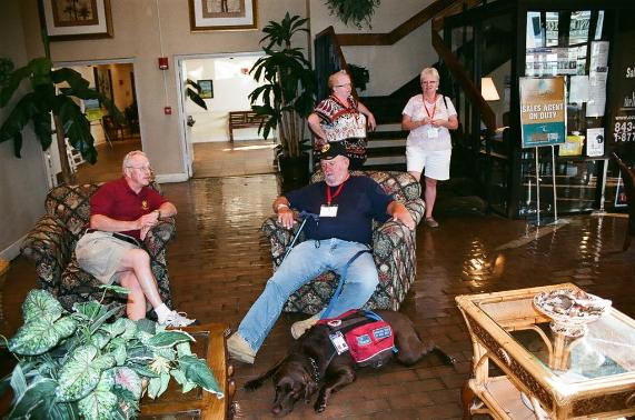 Tom LeMoine & Gary Browne With Gary's Service Dog Patsy - Photo courtesy of Mike & Kathy Bayne.