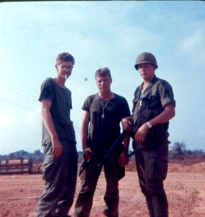 Left - SP/4 Fred Parker And SP/4 Al Krabbenhoeft - Right - PFC Hoffman - SP/4 Warren Schaub And SP/4 Al  Krabbenhoeft At Camp Camelot February 2, 1968