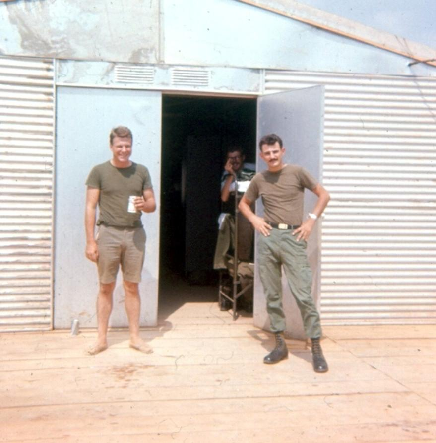 Left To Right - SP/4 Warren Schaub - PFC Hoffman - And SP/4 Richard Morawa Behind Guard Quarters At Camelot