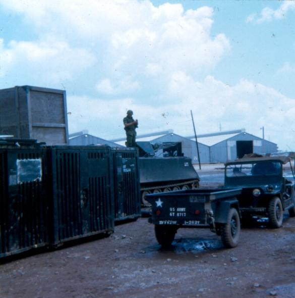 Outside The Guard Quarters With The 71st Trans. Bn. Consolidated Maintenance  Buildings In The Background
