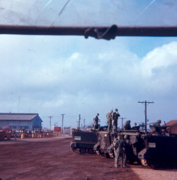 Newport Guards Servicing APC's Next To Old Guard House - Sea Land Building In  Background