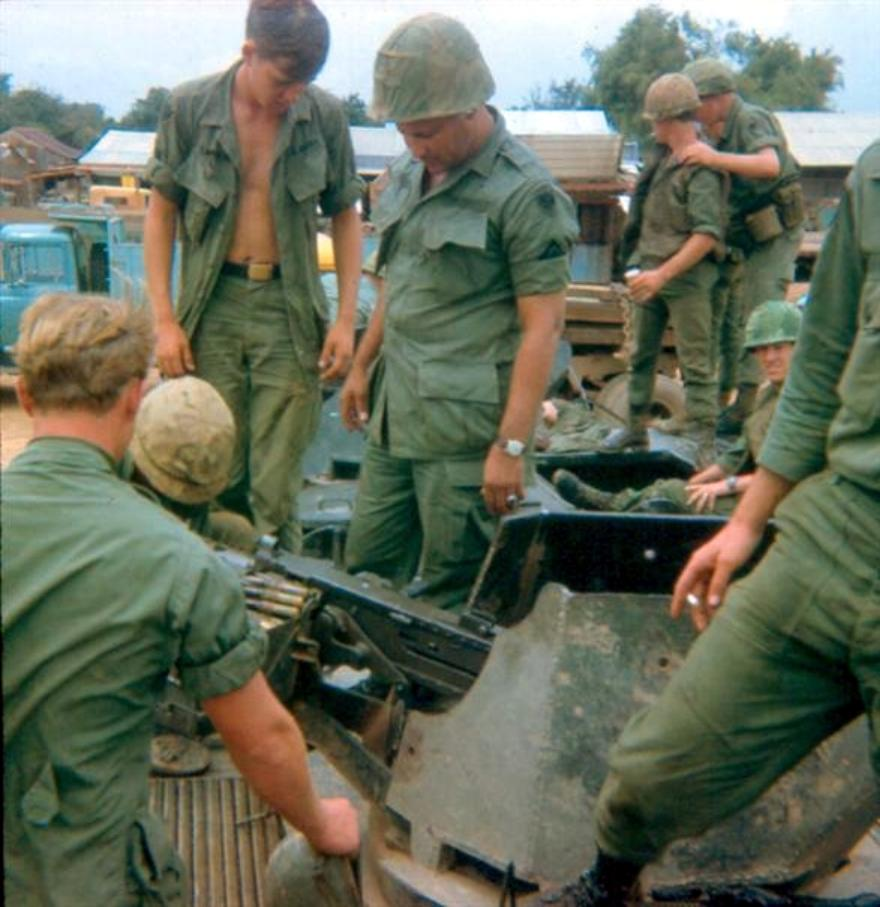 Newport Guards With Sgt. Perez In Center - Working On Overheated APC On Highway #1 Near A Small Village - Guard Robert  Banbury On Top Far Right With His Hand Sholder Of Another Guard