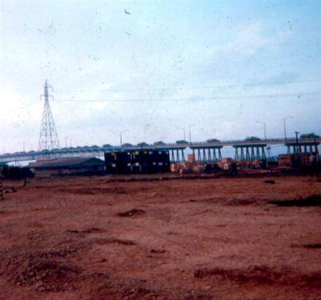 Left - Just After TET - Party At Sea Land - Notice 551st Jeep - Right - First Convoy Over Newport Bridge After  TET - The Old Wood Mess Hall Is In Photo