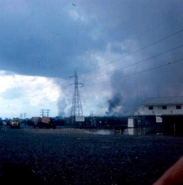 Left - APC At Main Gate Of Newport February 2, 1968 - Right - Photo Taken From Main Gate You Can See Parts Of Saigon Burning In The Background