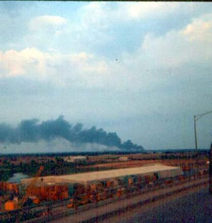 Left - Leaving Newport For  Camelot The Morning Of February 2, 1968 - Smoke In The Background Is From The 543TC  That Was About  Two Miles Or So North East Of  Newport Just Off Highway #1 - Right - ARVN Tank On Newport  Bridge Morning Of February 2, 1968 Probably One Of The Ones That Helped Us Out Just A Few Hours Earlier