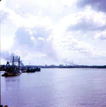 Left - February 2, 1968 Photo Taken From DD#4 - Saigon Burning - Right -  543TC On Fire Same Day