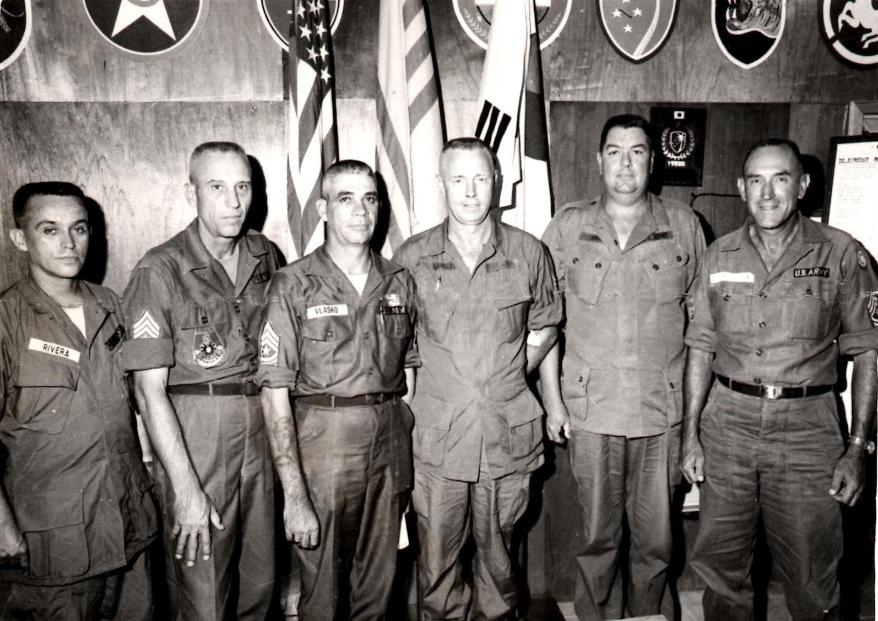 May '67, Sergeant Majors Conference - Left to Right: SGM Rivera - CRB Port, SGM Young, SGM Velasko - CRB Depot, SGM Langley - CRB, SGM Handly and SGM ?