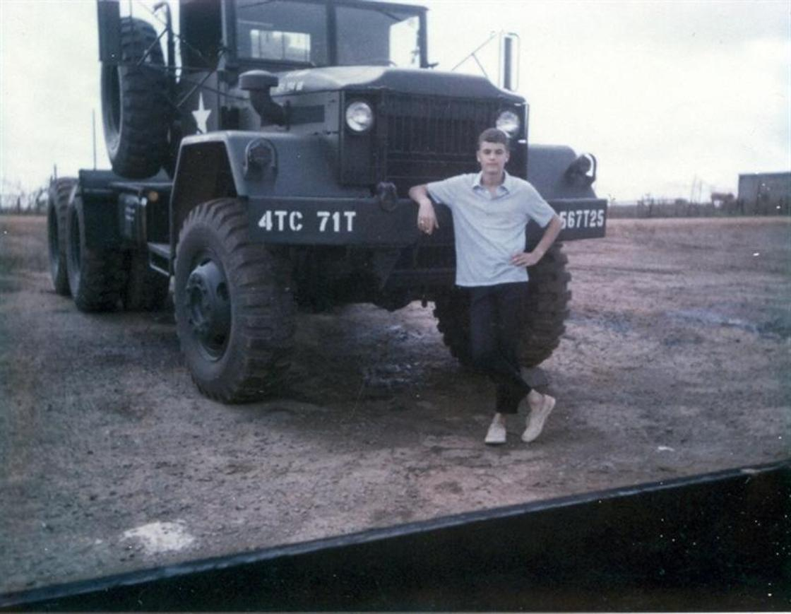 That's me, Bernie Rodgers, in front of the Pollock's 10-ton tractor.