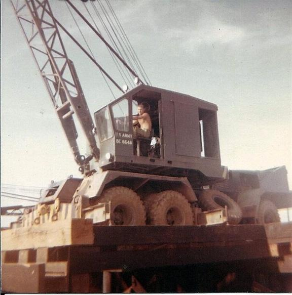 Buddy Operating The Crane At the Bien Hoa Barge Site