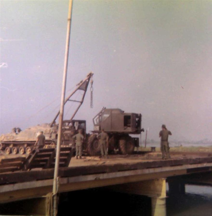 An M88 tank recovery vehicle was needed to upright this crane.