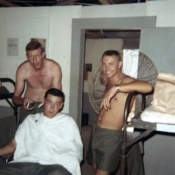 C.W. Cutting Jim's Hair- Looks Like Buddy Just Had His Done Too