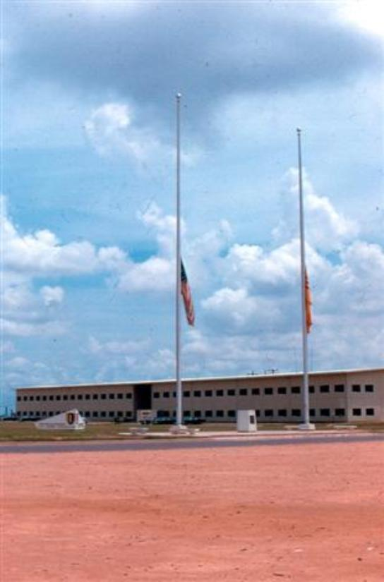 The two photos above of USARV Headquarters were taken after the passing of Bobby Kennedy; note flags at half-mast.