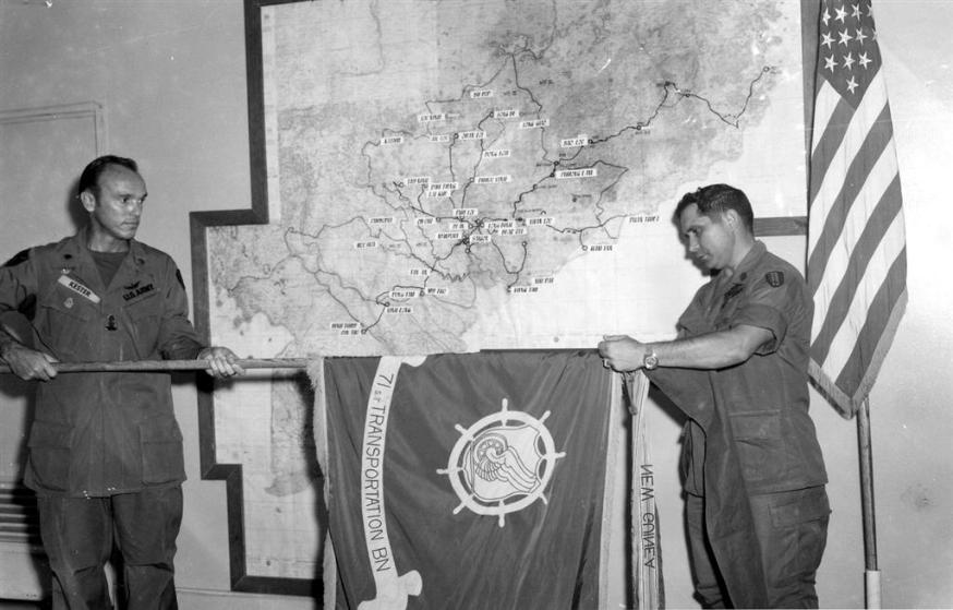 Casing Of The 71st Transportation Battalion Colors During Informal Ceremonies Conducted In Battalion Commander's Office On August 14, 1972