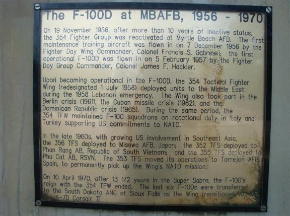 The story of the F-100D at Myrtle Beach.  - Photo courtesy of Al & Carol Furtado.