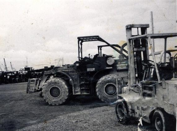 Fork Trucks at Newport - I operated them after my injury in the hatch.