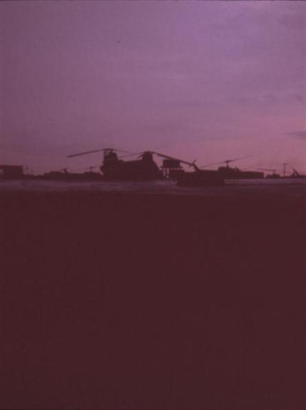 Choppers At II Field Force Area - Sunset Landings - May 1968