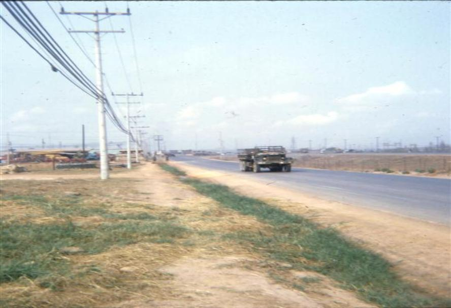 Left Photo - Dong Nai Barge Site - October 1968 -  Site was just a short distance from Camelot on 1-A.  All operations were closed down there and moved to Cogido and Bien Hoa sites sometime in 1969. Right Photo - The Outer Perimeter Road On Long Binh Post - 1-A Visible On Upper Right