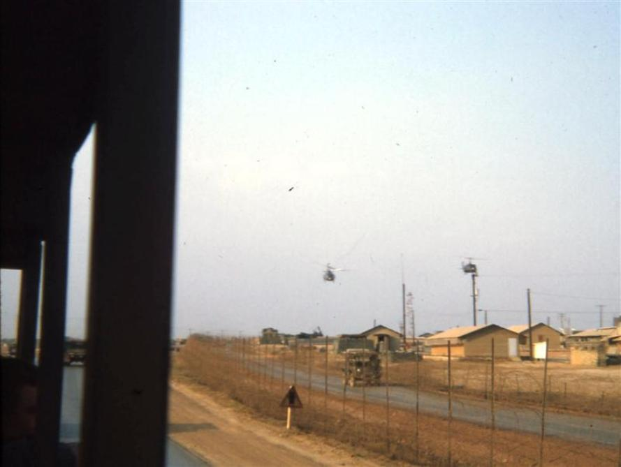 Riding On 1-A Looking At Long Binh Post Outer Road - Two Choppers Coming In