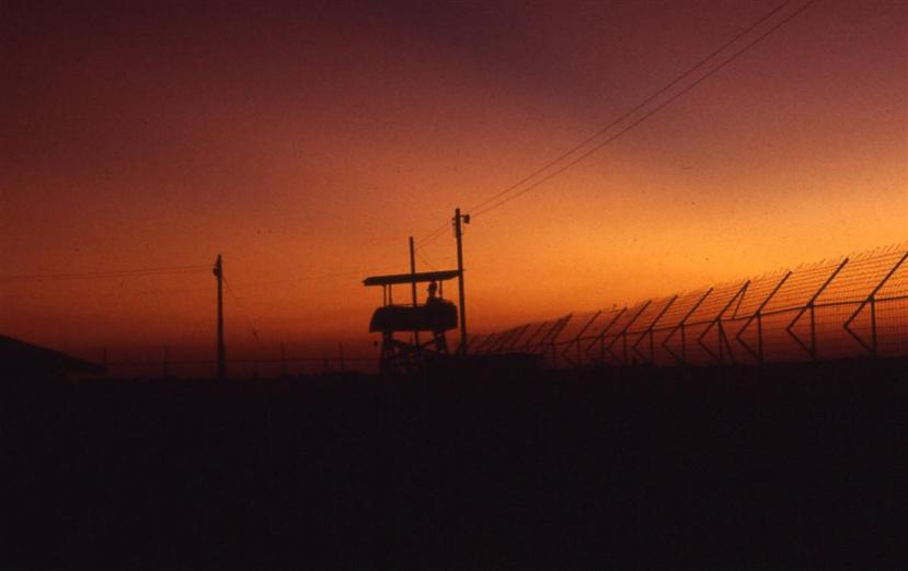 One Of The Guard Towers At Sunset In Camp Davies