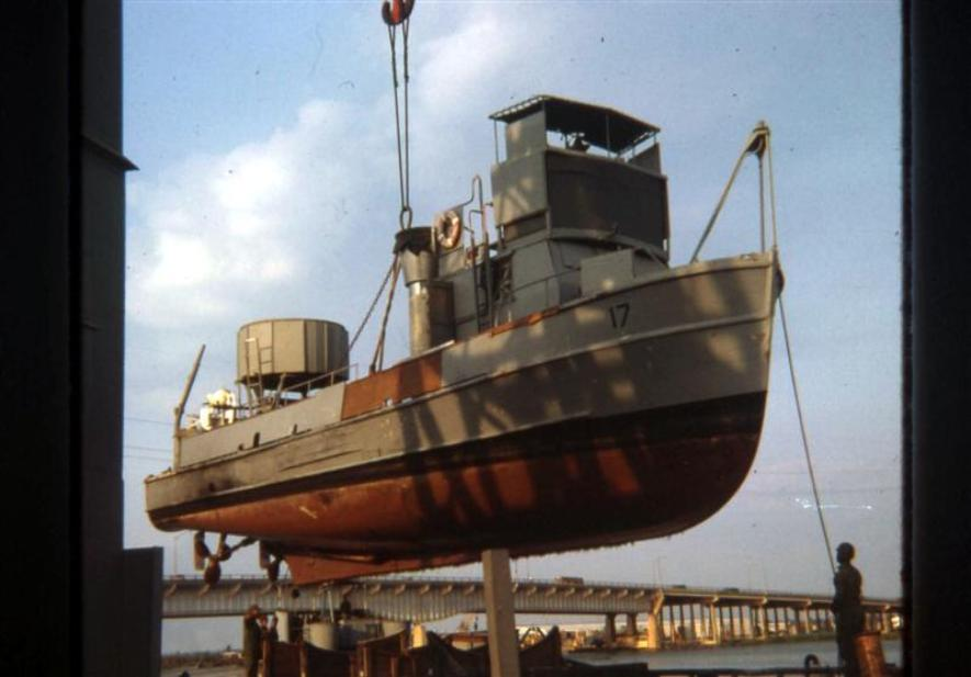 Newport Barge Site - Boat Being Off Loaded - March 1968