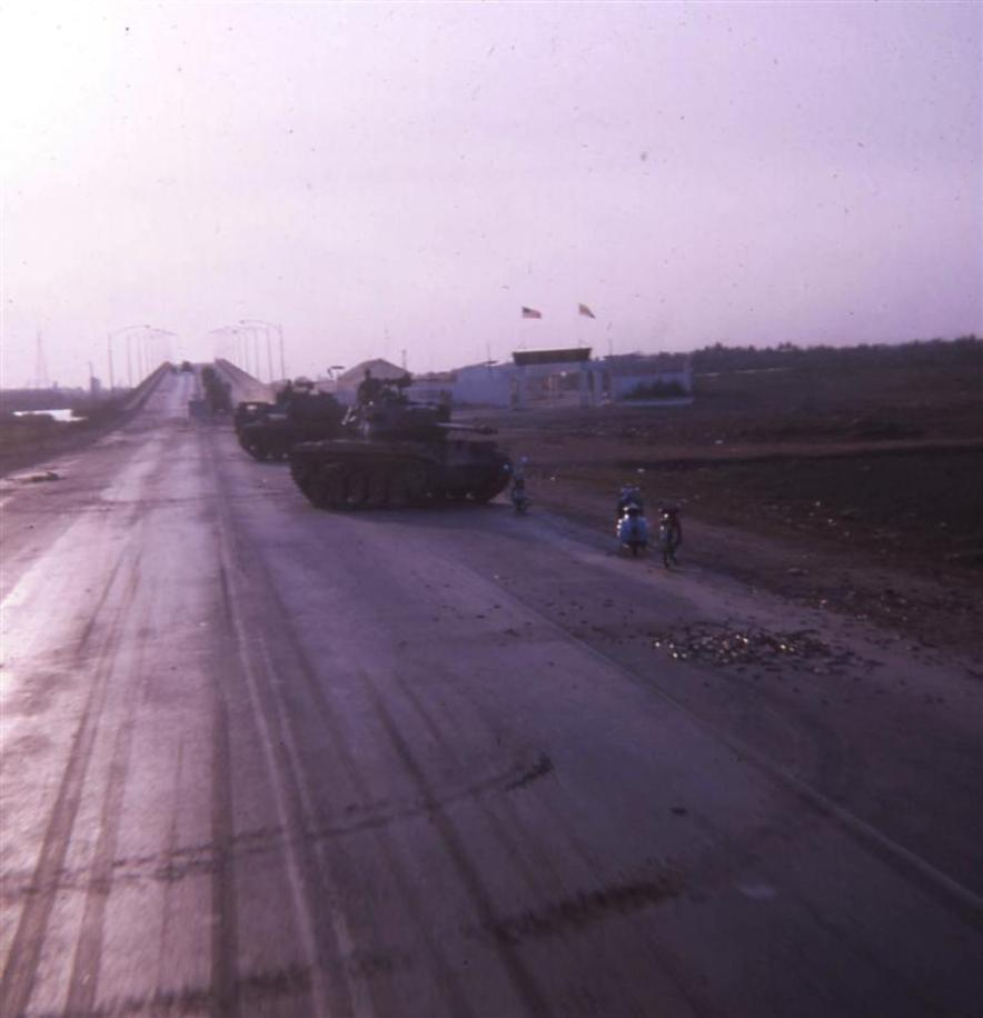 Tanks Securing East Side Of Newport Bridge The Morning After Tet February 2, 1968 - Not Much Traffic Today