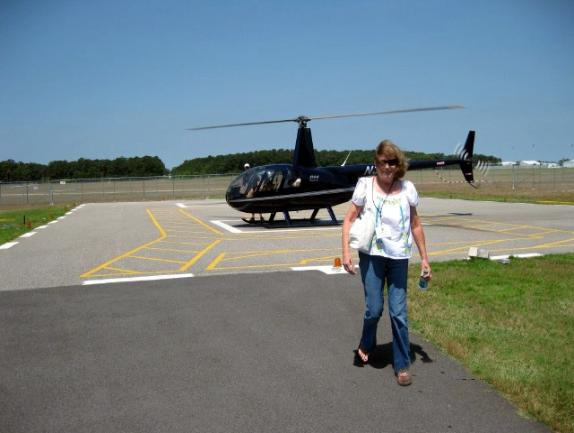 Judith Koziel getting ready to board the chopper. Photo courtesy of Rich Morawa.