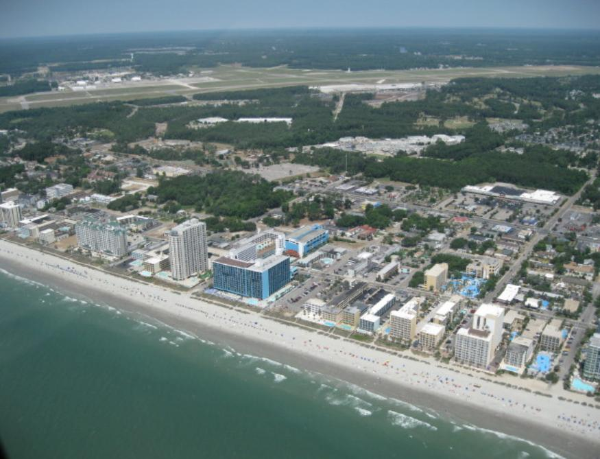 Another great view of the ocean front and the LandMark Resort, our reunion hotel. - Photo courtesy of Rich Morawa.