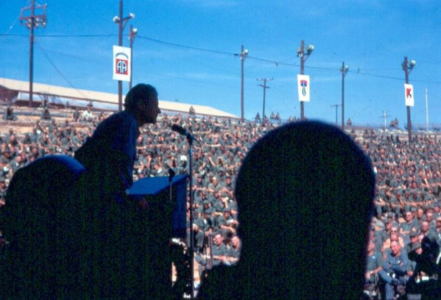 Right - Christmas 1968 - Billy Graham Speaking At The Long Bien Post Amphitheatre - The Bob Hope Christmas show was there two days later. Below Some Photos Taken At Newport Terminal.  Left - The New Chapel At Newport Terminal