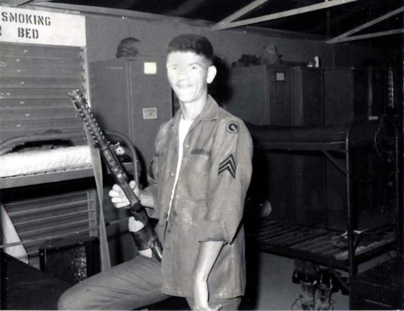 Left Photo - Day I Made Sgt, Feb 1968 - Notice 1st Log patch and nice haircut. - Anyone know what make gun I was holding?