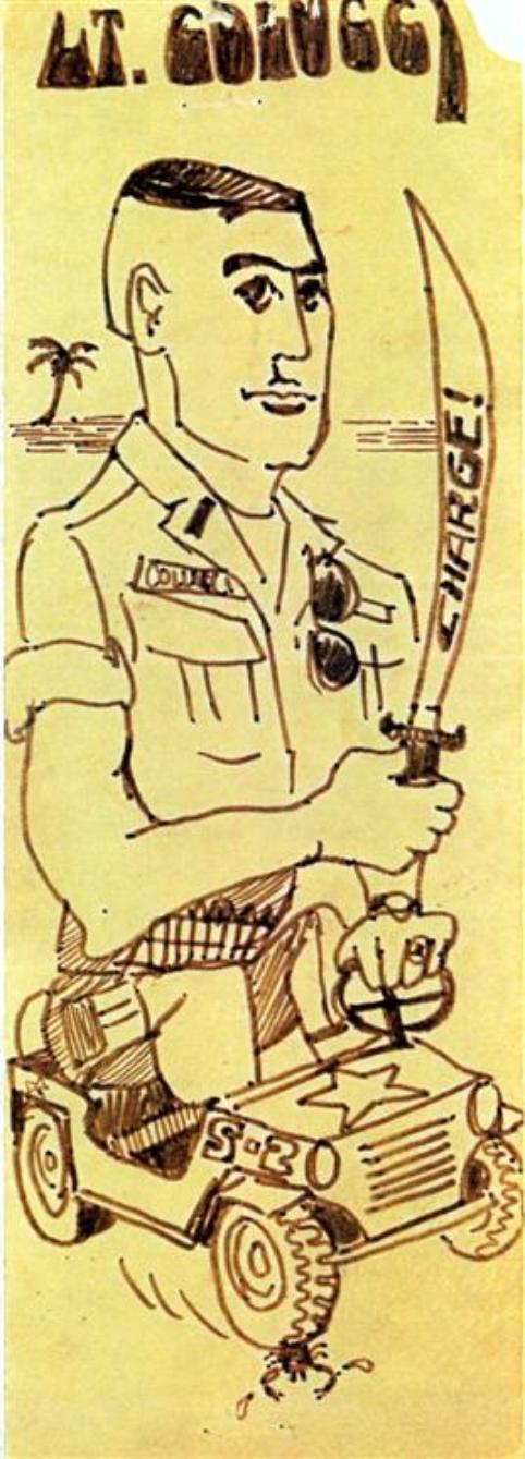 Rick Lemons was the battalion draftsman and often drew caricatures of some of the guys in our battalion.  Above Right is one he drew of me.