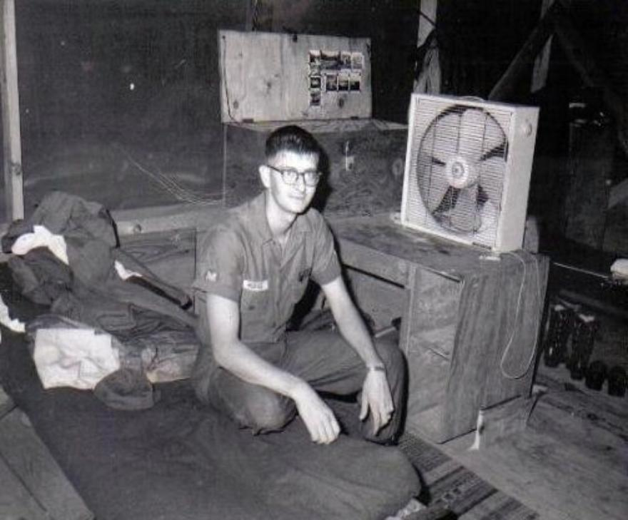 Me  sitting on my bunk in Cam Rahn Bay.  Notice the 20-inch window fan I carried from Virginia.  Those who thought I was crazy later joined me many times to enjoy the breeze.  Our home away from home in Cam Rahn Bay shortly before the company moved to Long Binh Post.
