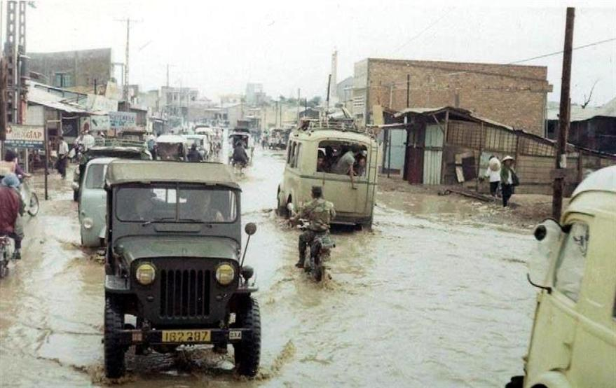 Flooded Street In Bien Hoa During Monsoon Season