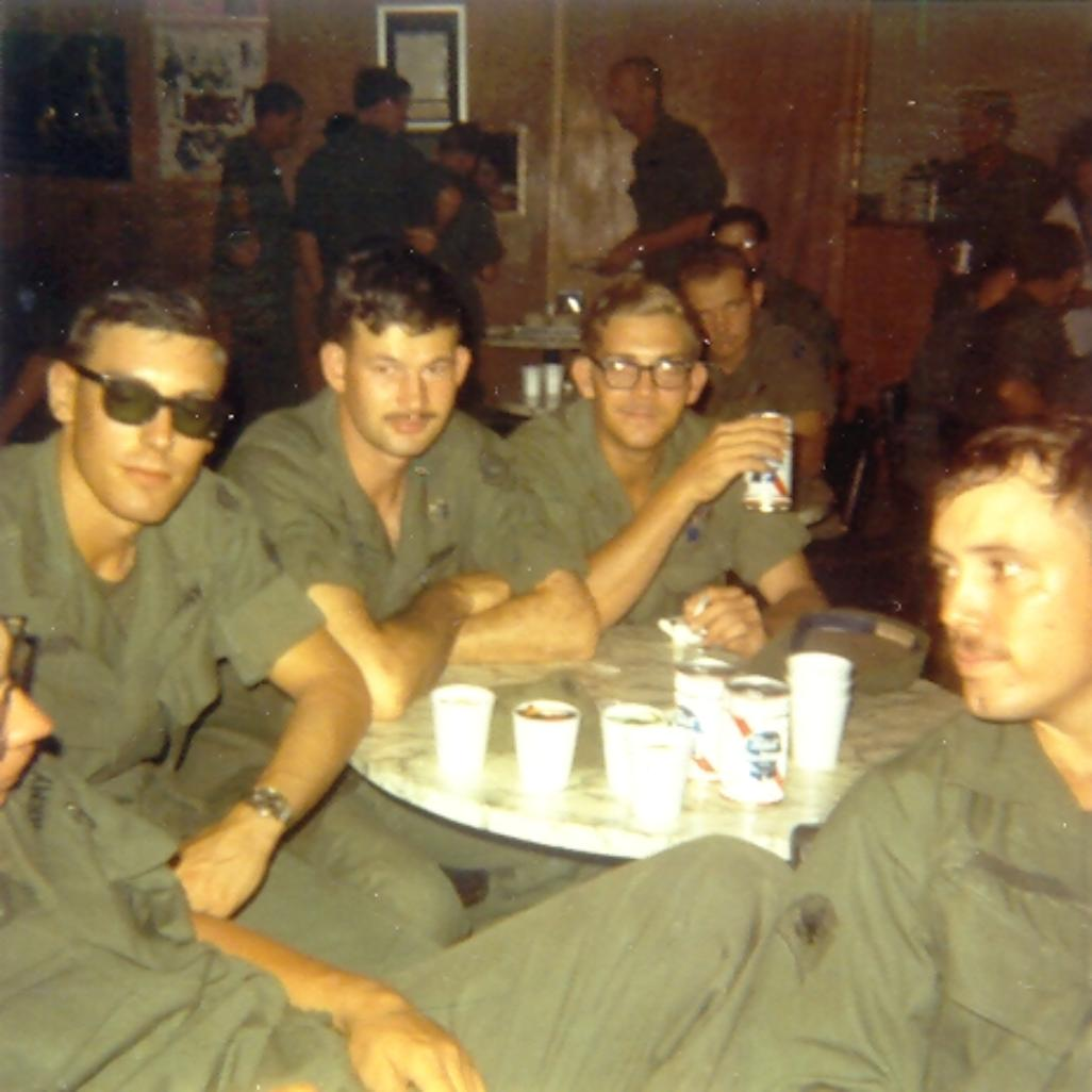 NCO Club- Glenn Davis with beer in hand. Other identities suffer from my bad memory.