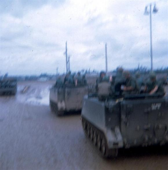 August 1968 - APCs Heading Out Of Newport's Main Gate To Long Binh