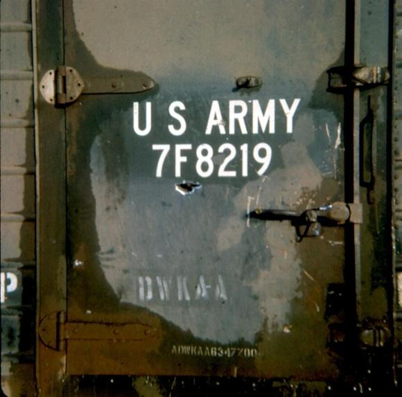 Shrapnel Damage To The Rear Door Of A Trailer From The Half Blown 122MM Rocket