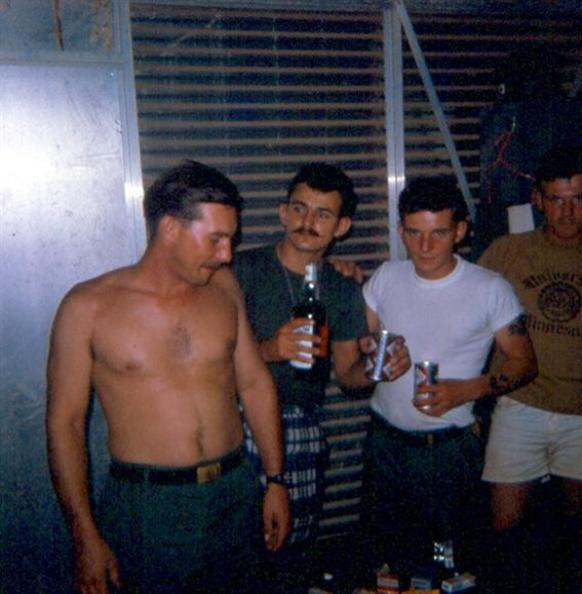 March 1968 -  Party At The Security Guard Quarters - Parker - Grigsby - Schaub - Myself