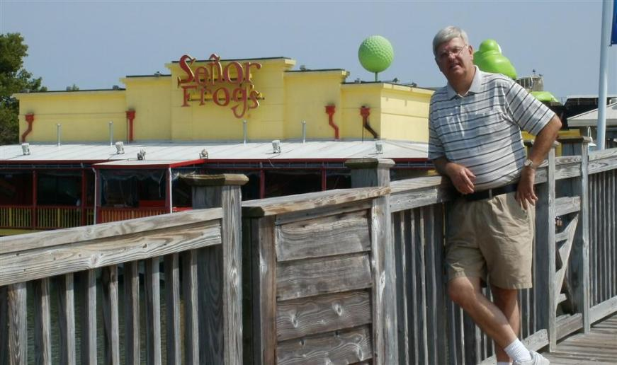 Tom Reckers standing in front of Senor Frogs. - Photo courtesy of Tom & Vickie Reckers.