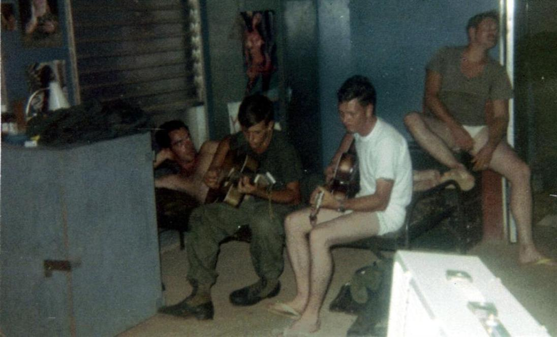 Wes Bicehouse In Bunk - Herb Edwards, Left, On Guitar