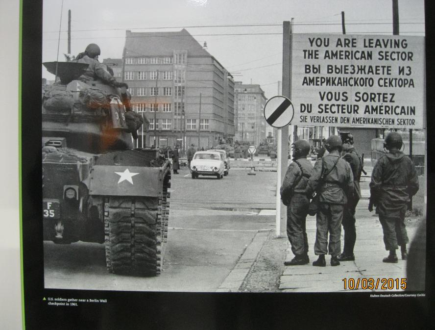U.S. Soldiers Gather Near a Berlin Wall Checkpoint